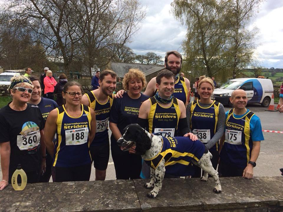 Some of our many runners at Fountains 10k - with Mascot!