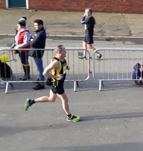 Sean completing a fine but frosty run at Brass Monkey Half.